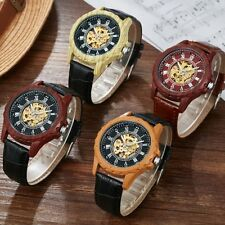 Wooden Leather Skeleton Wrist Automatic Watch Mechanical Analog Roman Dial Mens