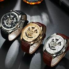 Black Brown Leather Skeleton Wrist Automatic Watch Mechanical Analog Arabic Dial