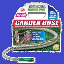 "As Seen on TV 50"" Stainless Steel Metal Garden Hose  New  !"