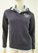 SCOTCH SHRUNK Boys Navy Hoodie Sweatshirt W Attached Shirt Collar & Tails BNWT