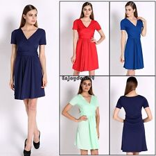 New Elegant Women's Dress V Neck Short Sleeve Knee Lenght Tunic OO5501
