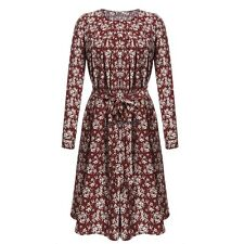 Women Casual O-Neck Beading Long Sleeve Print Tunic Dress with Belt OO5501