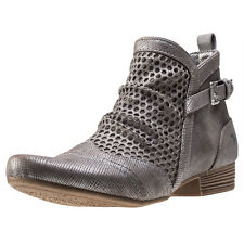 Mustang Metallic With Perforated Layer Womens Ankle Boots Copper New Shoes