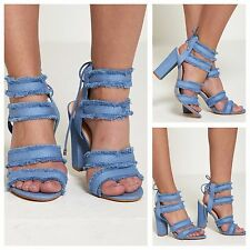 WOMENS LADIES LACE UP BACK HIGH HEEL DISTRESSED DENIM ANKLE STRAP SANDALS SHOES