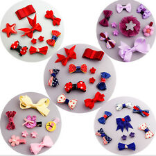 9Pcs/set Baby Girl Hair Clip Bow Flower Mini Barrettes Party Kids Hairpins FO