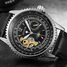 New Leather Stainless Steel Steampunk Mechanical Wrist Automatic Skeleton Watch