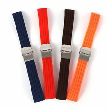 Waterproof Silicone Rubber Watch Strap Band Deployment Buckle Strap 16~24mm Band