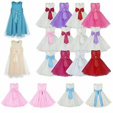 Girls Tulle Bow Wedding Formal Bridesmaid Party Dress MANY COLOURS - 0 to 13 Yrs