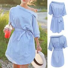 Summer Womens Off Shoulder Stripe Shirt Dress Casual Waist Belt Short Mini Dress
