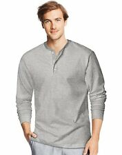 Hanes Signature Men's Ultimate Cotton Jersey TAGLESS Long-Sleeve Henley Shirt