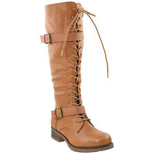 Womens Knee High Boots Lace Up Combat Leather Buckle Strap Shoes Tan