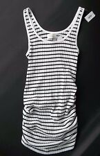 OLD NAVY MATERNITY SIDE RUCHED STRIPE TANK TOP (black/white)