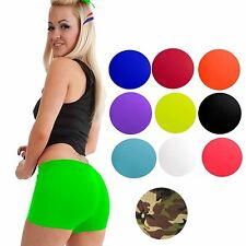 WOMENS LADIES FREE POST STRETCHY NEON LYCRA HOT PANTS DANCE GYM SHORTS KNICKERS