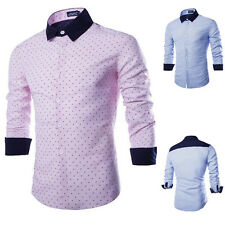 Mens Long Sleeves Solid Luxury Casual Formal Slim Fit Stylish Dress Shirts Tops