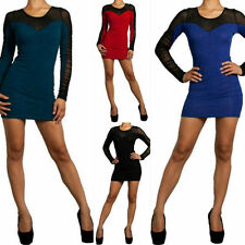 S M L Dress Mini Long Sleeve Sheer Mesh Embossed Shimmer Cocktail Sexy Party New