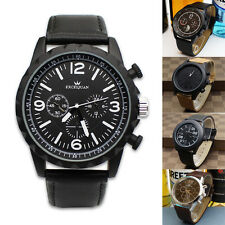 Luxury Mens Quartz Analog Leather Sport Watch Casual Army Black Wristwatch New
