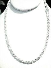 mens/womens 4mm twisted rope 925 sterling silver chain necklace 16/18/22/24 inch