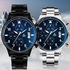 Luxury Mens Sport Stainless Steel Stopwatch Business Leather Army Wrist Watch