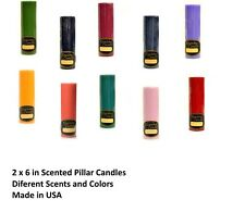 """2""""Dx6""""H Solid Pillar Candles Different Scents & Colors- Made in USA- 40-60 Hours"""
