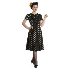 Ladies Hell Bunny Black/Cream Madden Polka Dot 1940s Midi Tea Style Dress