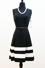 NWT CALVIN KLEIN BLACK IVORY ColorBlock Fit Flare Stretch BELTED Cocktail Dress