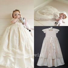 Vintage Baby Girl Christening  Infant  Baptism Lace Dresses Soft First Communion