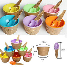 1Pcs Dessert Kids Ice Cream Couples Container Bowl With Spoon Eco-Friendly Cup