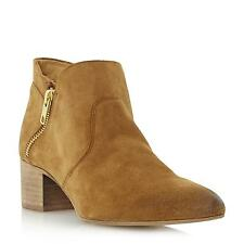 Dune Black Ladies PERIN Suede Pointed Toe Ankle Boot in Tan