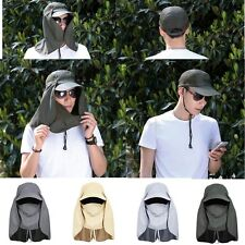 Mens Wide Brim Outdoor Sport Sun Neck Face Protection Hiking Fishing Flap Hat
