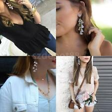 Women Ladies Bohemian Crystal Rhinestone Tassel Hook Dangle Earrings Ear Studs