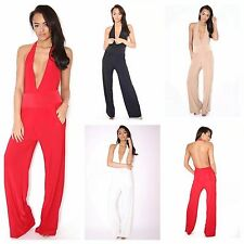 WOMENS LADIES SLINKY HALTER NECK PLUNGE V BACKLESS JUMPSUIT ALL IN ONE CATSUIT