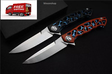 HQ Folding Knife Custom,Blade:D2(Satin),Handle:G10+Stainless steel, EDC tools