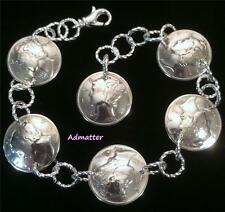 1945 STERLING SILVER MERCURY DIME CHARM BRACELET 72nd BIRTHDAY GIFT RARE COINS