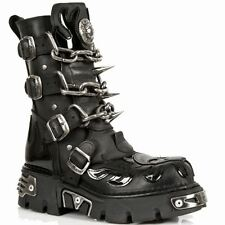NEWROCK NEW ROCK M.727-S1 With Patent Flames Bikers Skull Chains & Spikes BOOTS