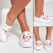 WOMENS LADIES CASUAL WHITE FLORAL TRAINERS CANVAS SLIP ON SHOES FLAT GIRLS PUMPS