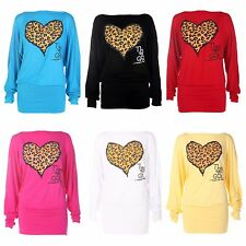 WOMENS LADIES CASUAL STRETCH ANIMAL LEOPARD LOVE HEART PRINT BATWING SLEEVE TOP
