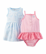 Carters Baby Girls 3 Piece Tropical Dress and Sunsuit Set