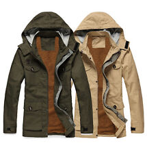 Mens classic military Parka utility jacket hood Warm winter Trench coat Handsome