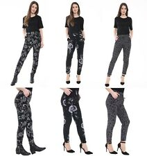 WOMENS LADIES CASUAL FLORAL STRETCH TAPERED LEG TROUSERS PANTS PLUS SIZE 8-26