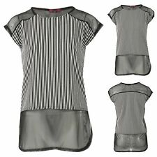 NEW WOMENS LADIES CASUAL SHORT SLEEVE  MESH INSERT PANELED STRIPED T SHIRT TOP