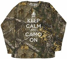 Men's Keep Calm And Camo On Realtree Camoflauge Long Sleeve Shirt