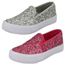 Girls Spot On Glitter Fashion Pumps - H2325