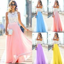 New Sexy Women Cap Sleeve Maxi Dress Floral Hollow Patchwork Party Slim CYBD01