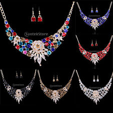 Prom Wedding Bridal Womens Diamante Crystal Flower Necklace Earrings Jewelry Set
