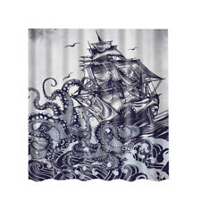 Nature Country Style Decor Bathroom Shower Curtain Set with 12 Hooks Rings