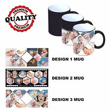 PERSONALISED COLOUR CHANGING MAGIC MUG 10 PHOTO COLLAGE ADD ANY TEXT/WITH BOX