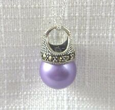 Faux Pearl/Marcasite 925 Sterling Silver Pendant/Necklaces