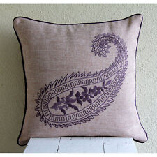 Purple Burlap 35x35 cm Embroidered Indian Paisley Cushion Cover- Purple Paisleys