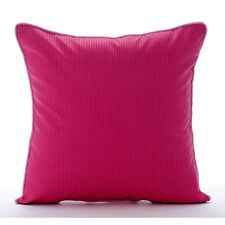Textured Checkered 60x60 cm Faux Leather Fuchsia Pink Cushion Shams - Pink Pulp
