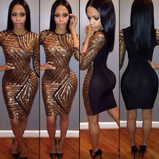 Women Lady Sequins Short Mini Dress Bandage Bodycon Evening Party Cocktail Club